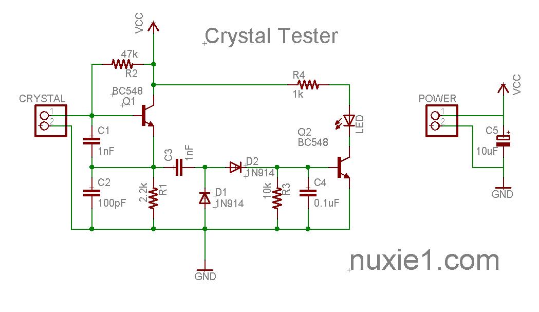 Эта простая схема позволит вам проверять работоспособность кварцевых резонаторов.  Просто подключите резонатор к двум...