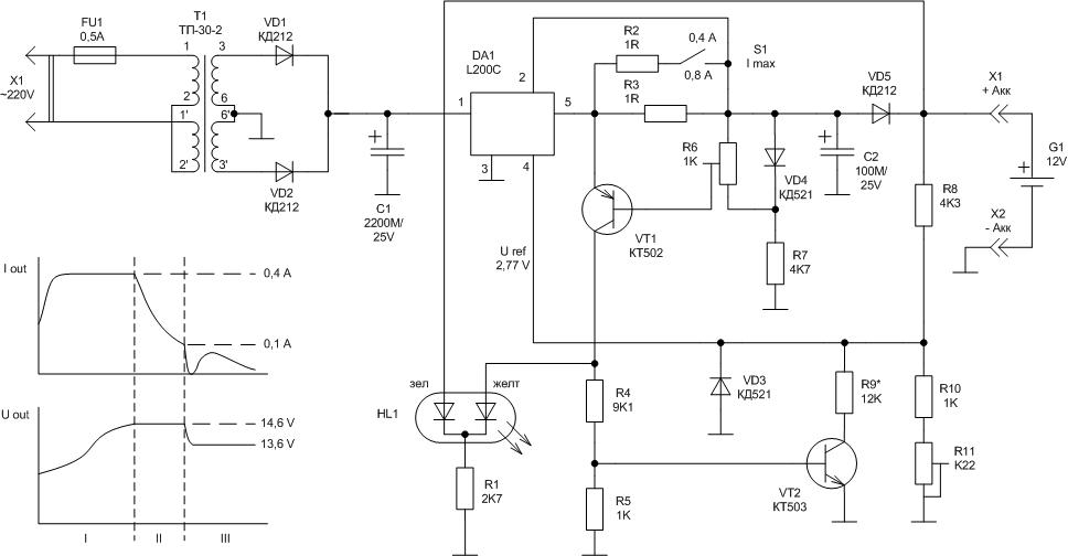 Зарядное на l200 схема