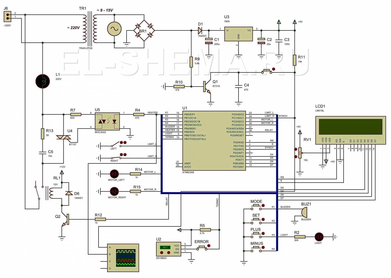 Электрическая схема регулятора температуры инкубатора