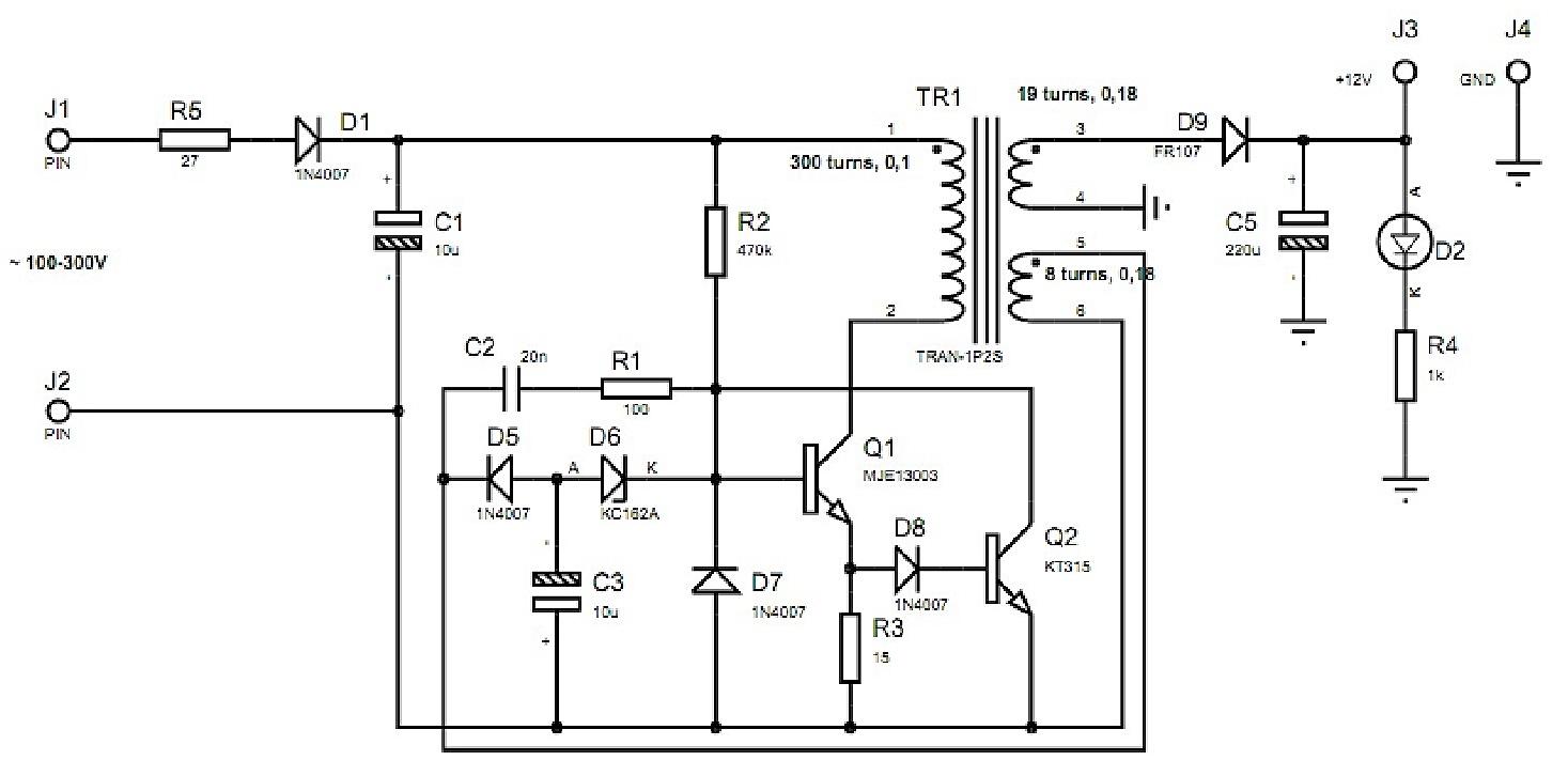 Принципиальная схема может дополняться стабилизатором на выходе или с обычным выпрямителем диод-конденсатор.