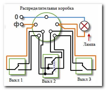 Схема подключения обычного выключателя