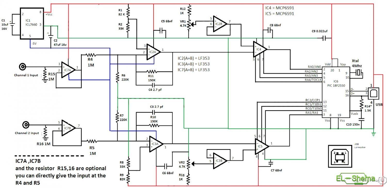 Принципиальная схема осциллографа на микроконтроллере