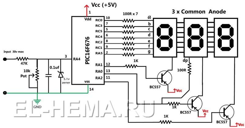 Электросхема вольтметра
