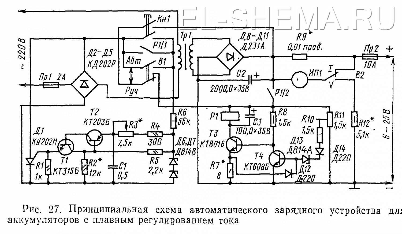 подробная схема зарядного устройства 12-24 на тн61-220-50