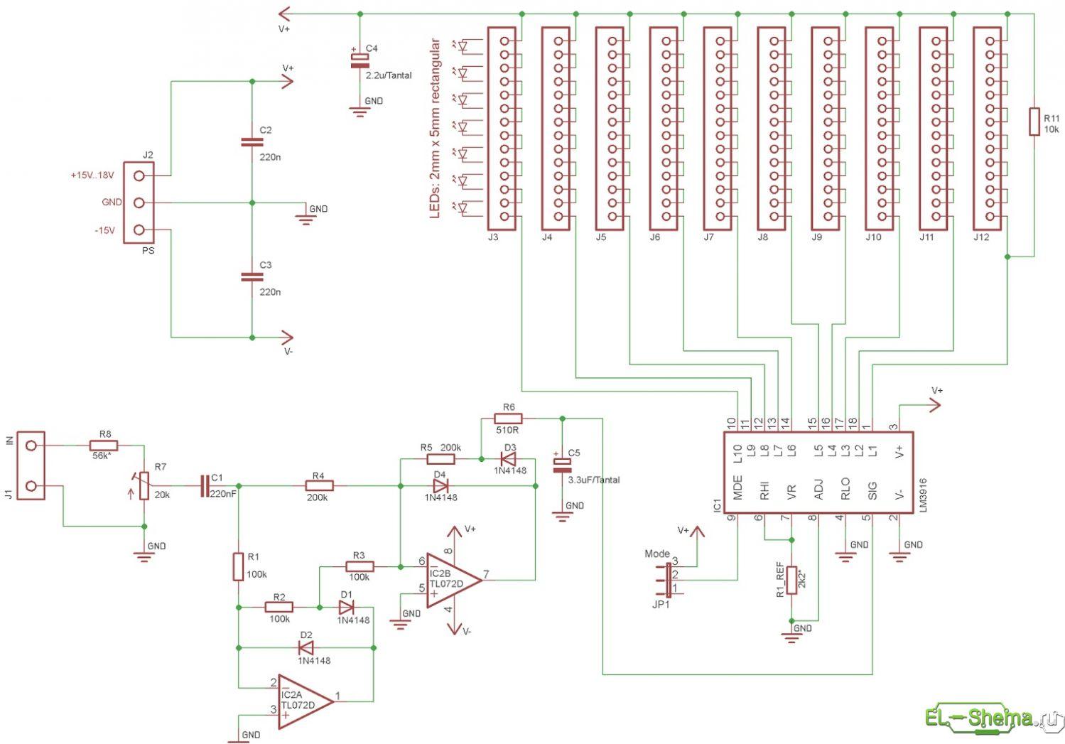 Схема светодиодного индикатора сигнала фото 140