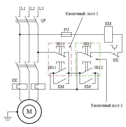 Схема подключения реверсивного магнитного пускателя