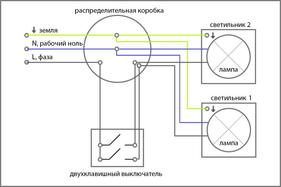 Как поставить двойной выключатель вместо одинарного схема