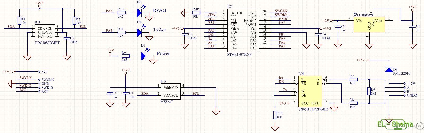 эл.схема простейшего измерителя влажности