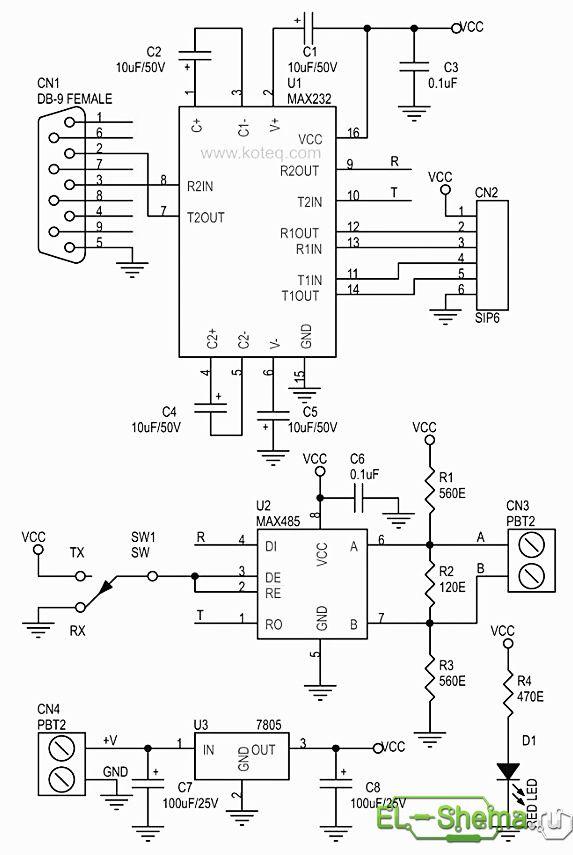 Схема RS232 В RS485