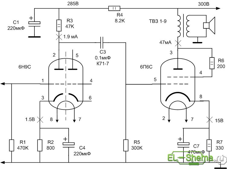 Схема УНЧ на 6Н9С и 6П6С