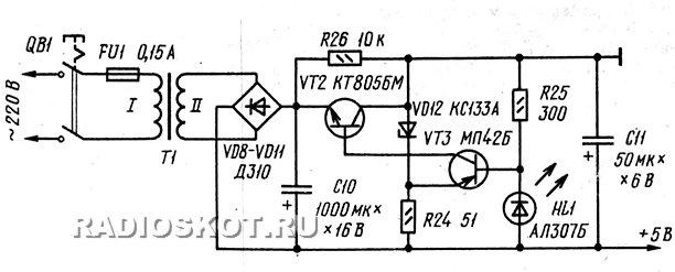 блок питания генератора сигналов для настройки телевизоров