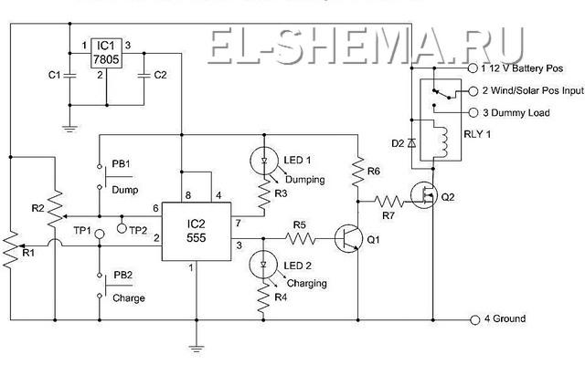 Рисунок принципиальной эл.схемы контроллера заряда.