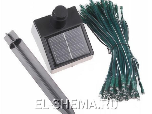 светодиодные гирлянды с зарядкой от солнечной энергии.