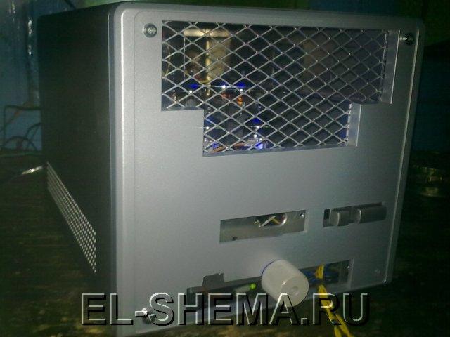 корпус самодельного усилителя на лампах 6П14П и 6Н2П.