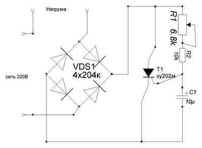 Электрическая схема тиристорного регулятора для паяльника