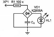 Схема индикатора фазы на светодиоде