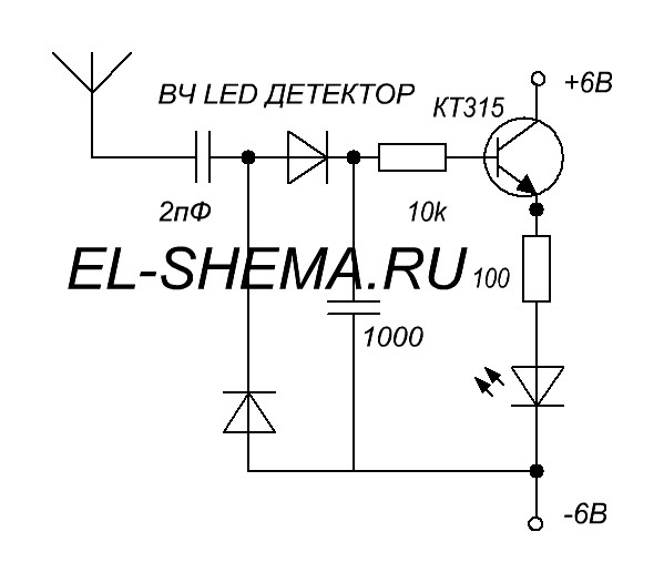 Схема светодиодного детектора