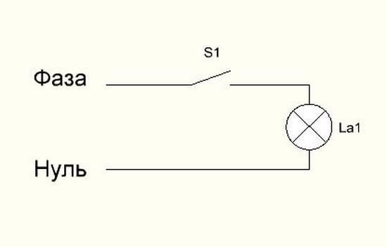 Схема подключения лампочки