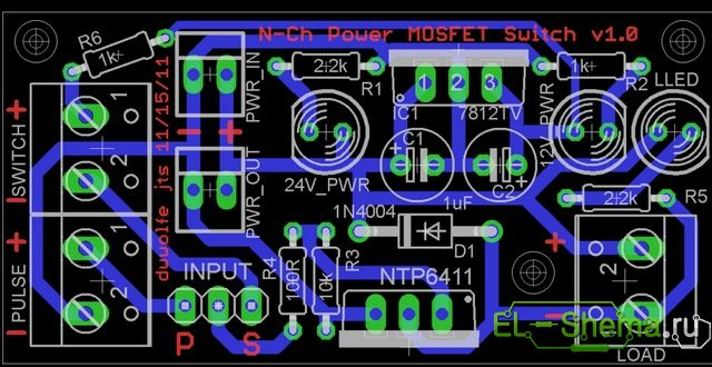 Схема и плата электронного переключателя