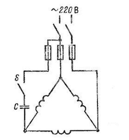 подключение электродвигателя к сети 220 вольт