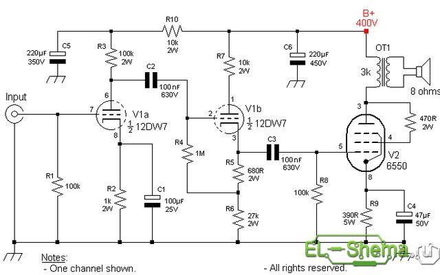 Схема усилителя на 2 лампах